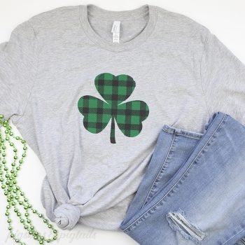 Screen Printing with Vinyl: Buffalo Plaid Shamrock for St. Patrick's Day