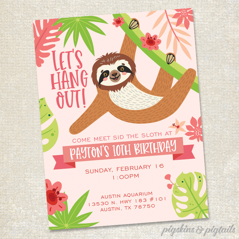 sloth birthday party invitation girl