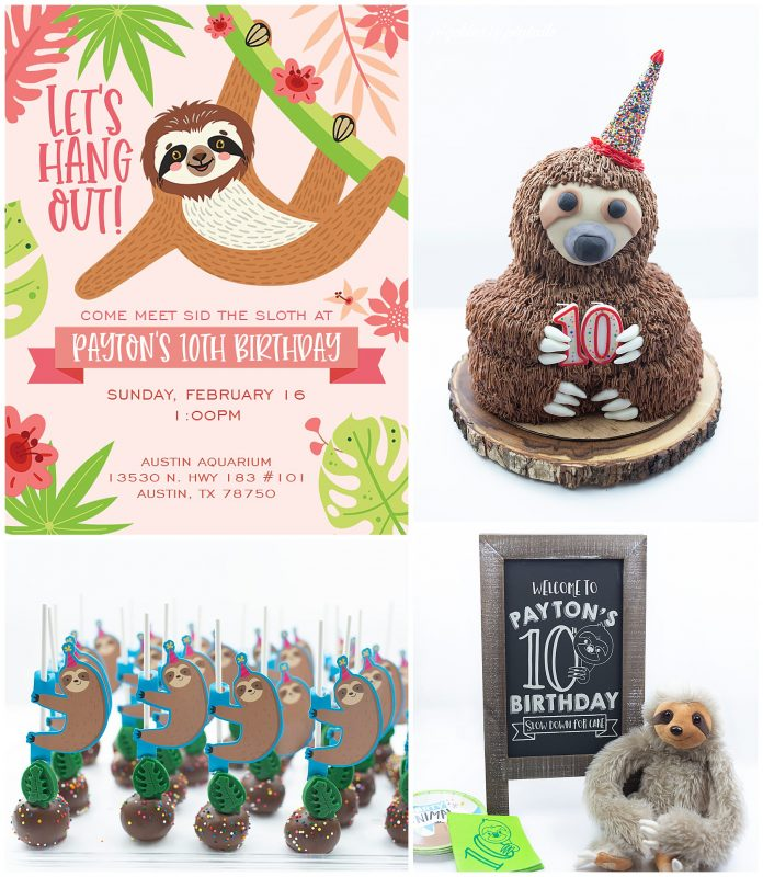 sloth theme birthday party girl cake sign