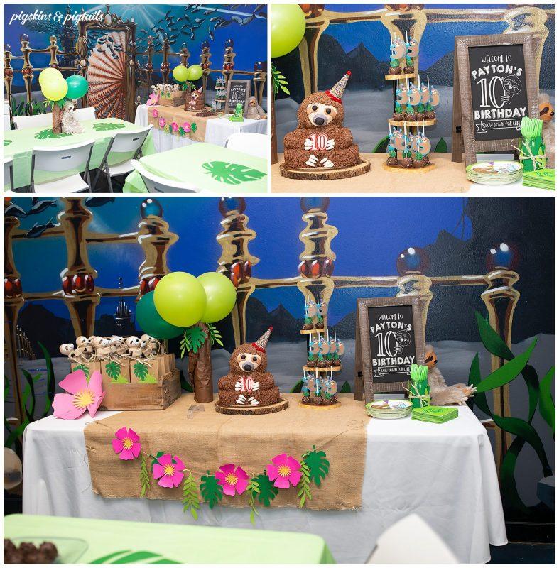 sloth theme party at austin aquarium venue kids