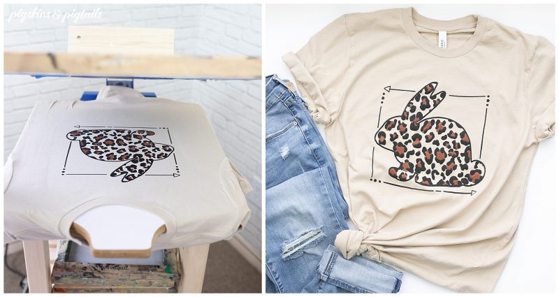 screen printing 2 color tutorial leopard bunny