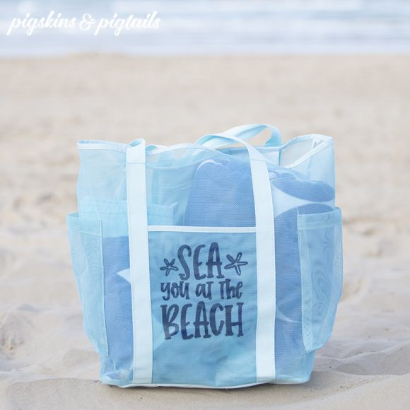 beach bag mesh personalized vinyl screen printing