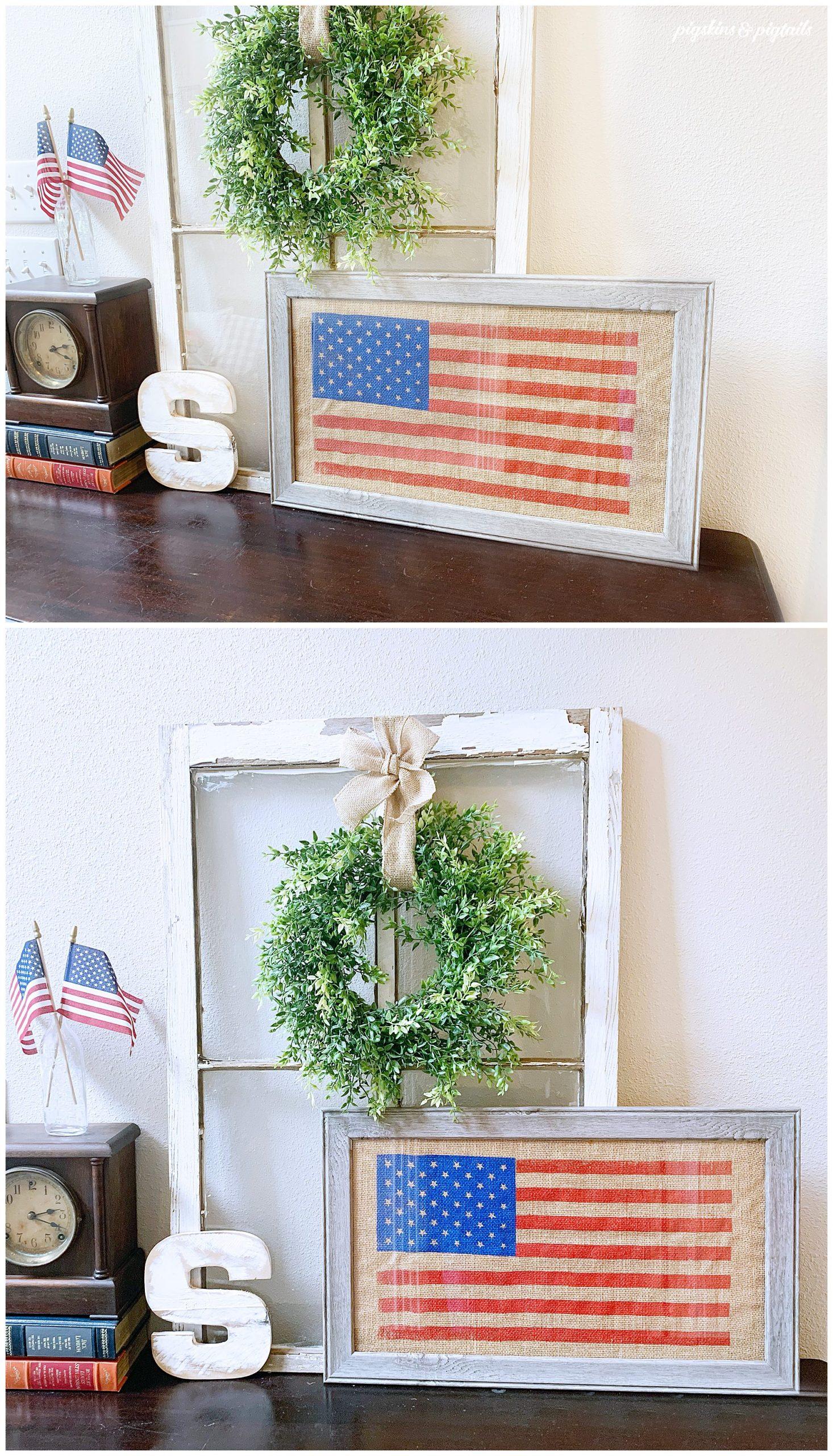 patriotic decor diy screen printing framed burlap flag