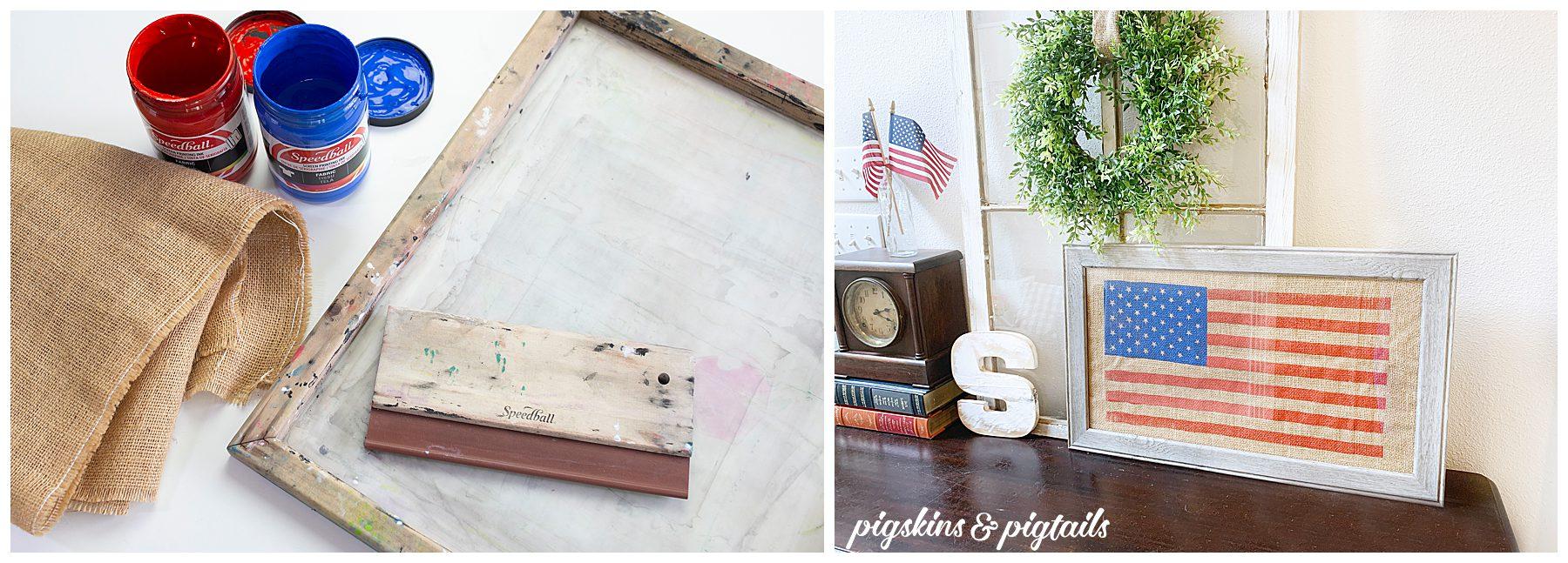 screen printing flag burlap cricut vinyl