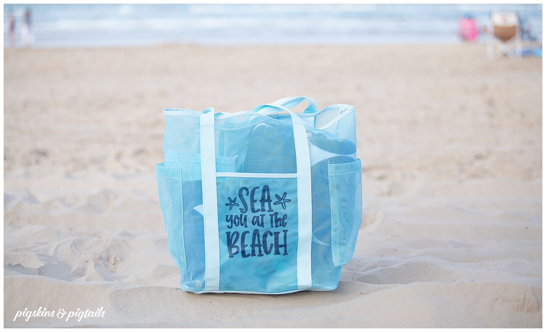 screen printing personalized mesh beach bag
