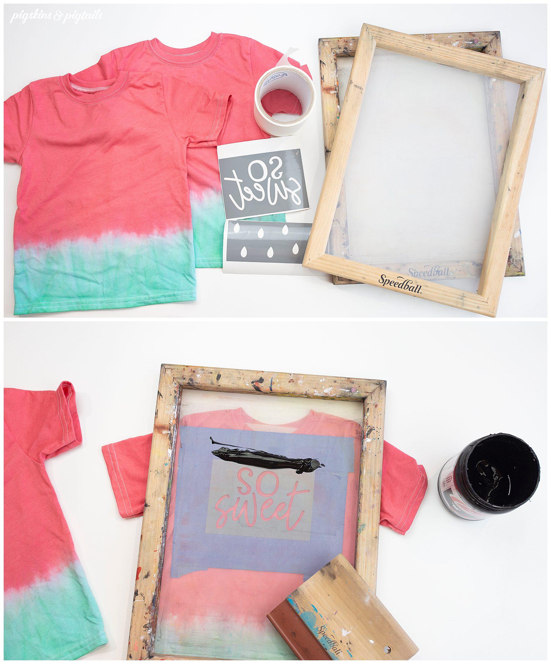 screen printing vinyl cricut silhouette tie dye shirt