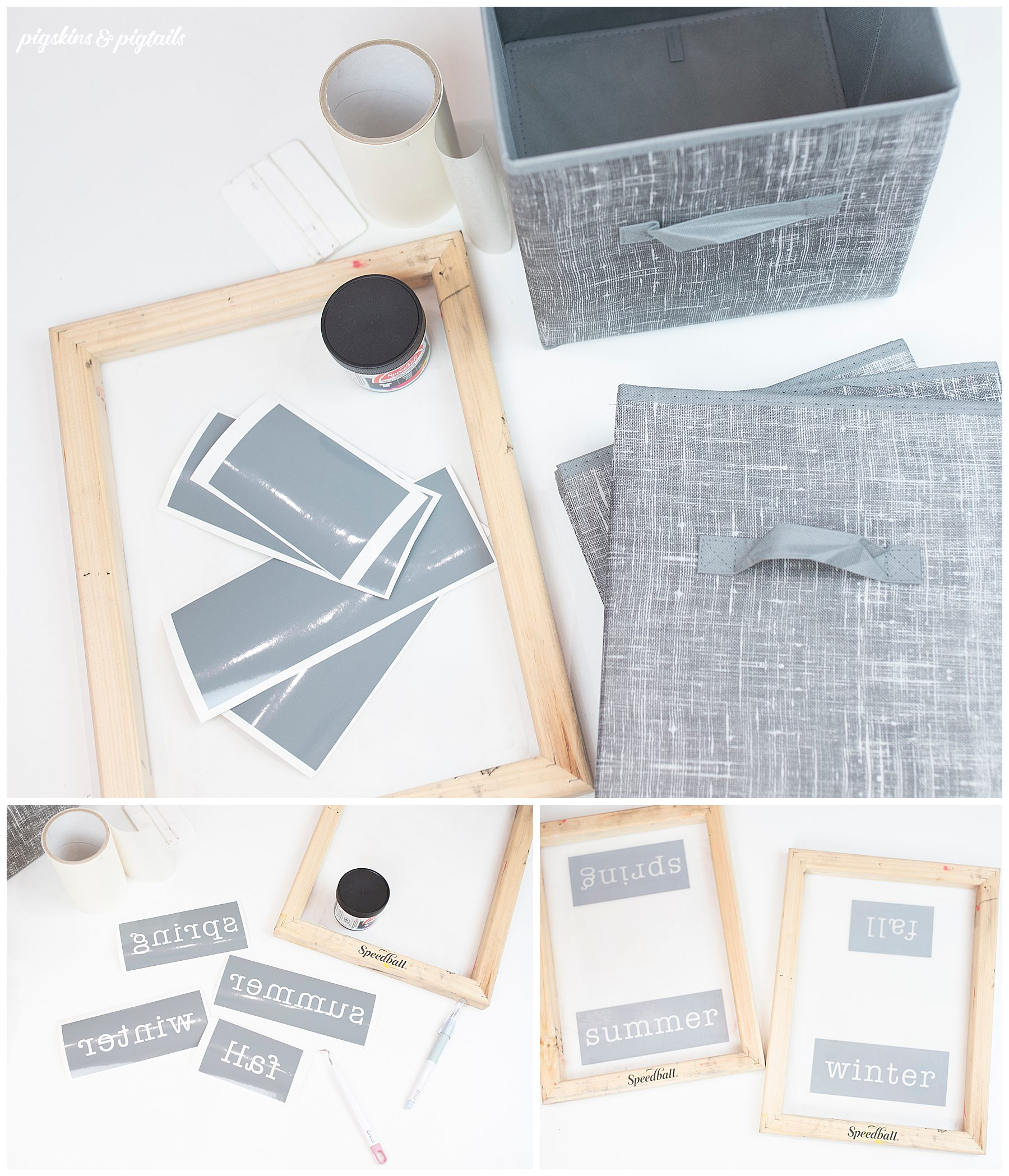 label storage cubes vinyl diy screen printing