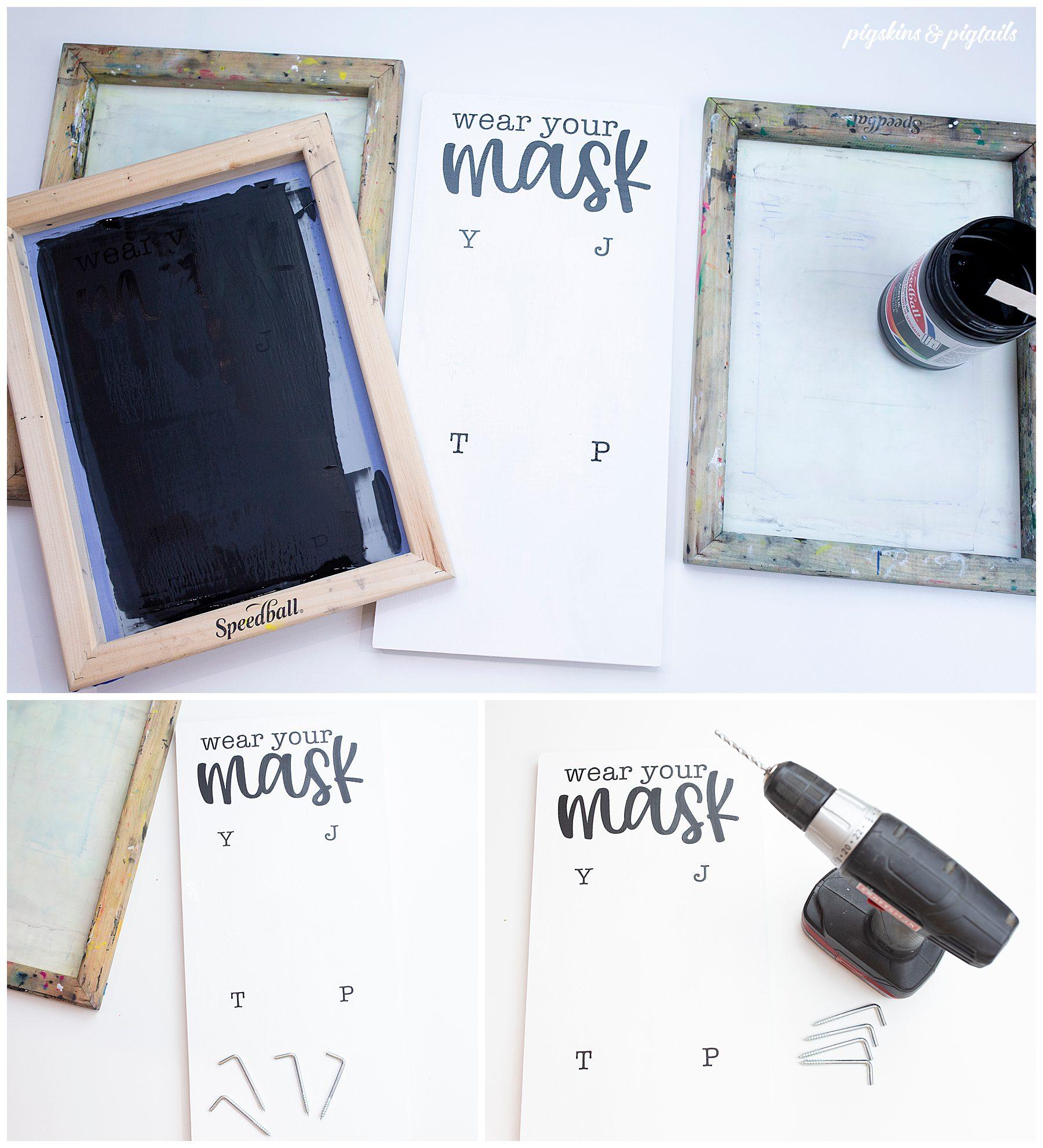 make face mask organizer hanger wood sign