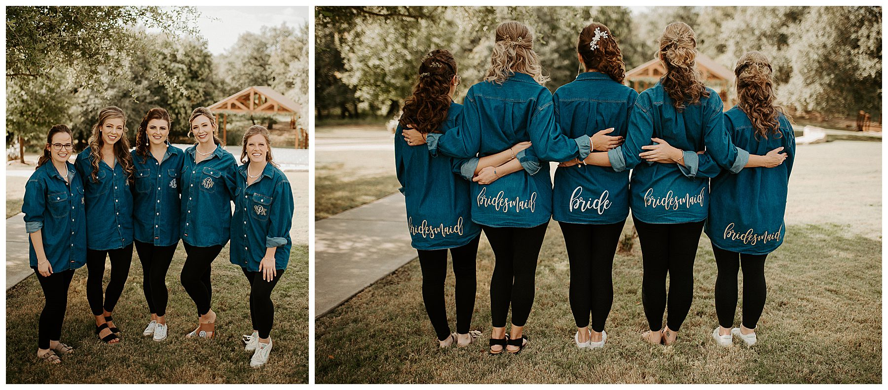 bridesmaids bride getting ready denim shirt oversized how to make