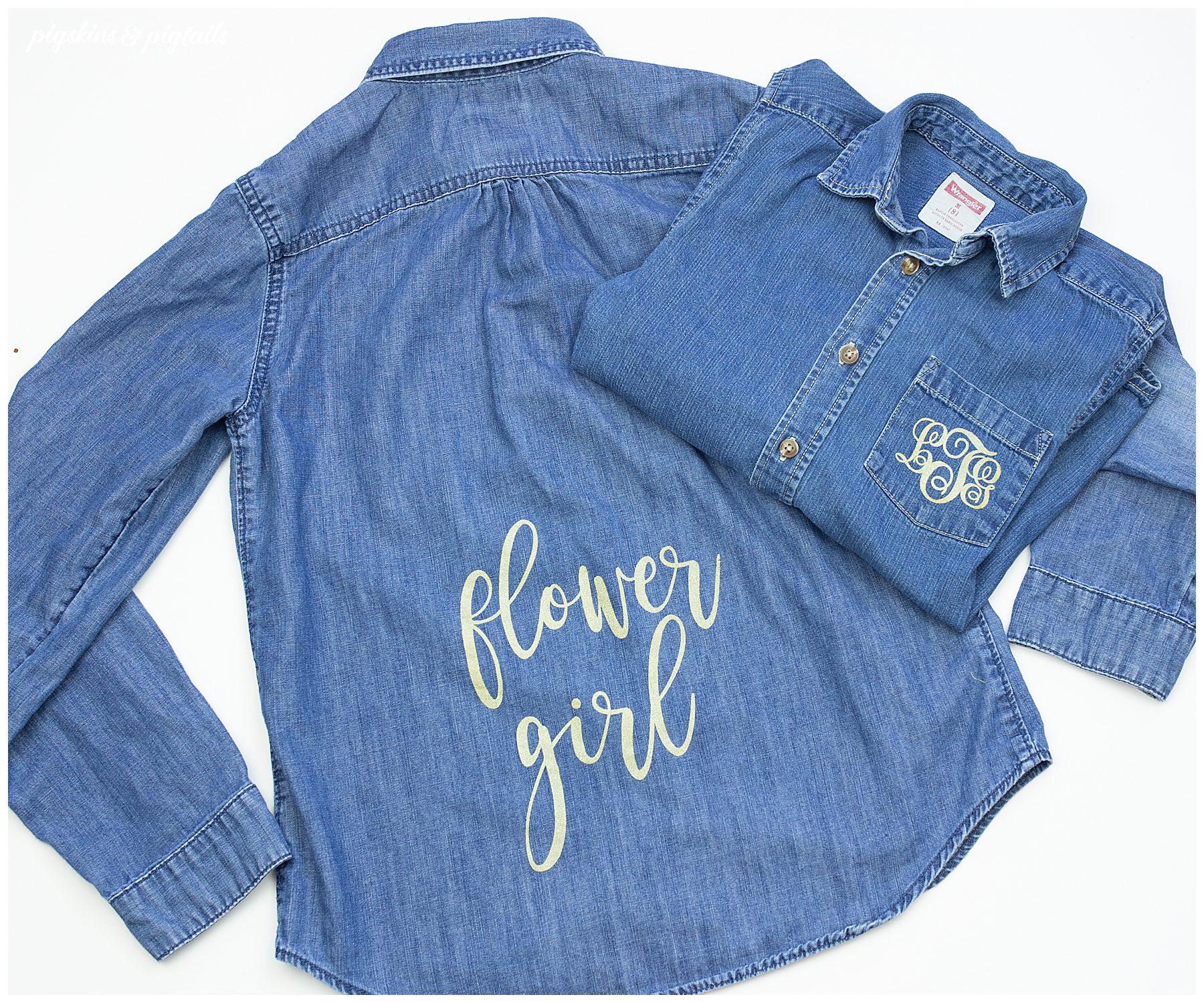 flower girl shirt denim button up cricut personalized monogram