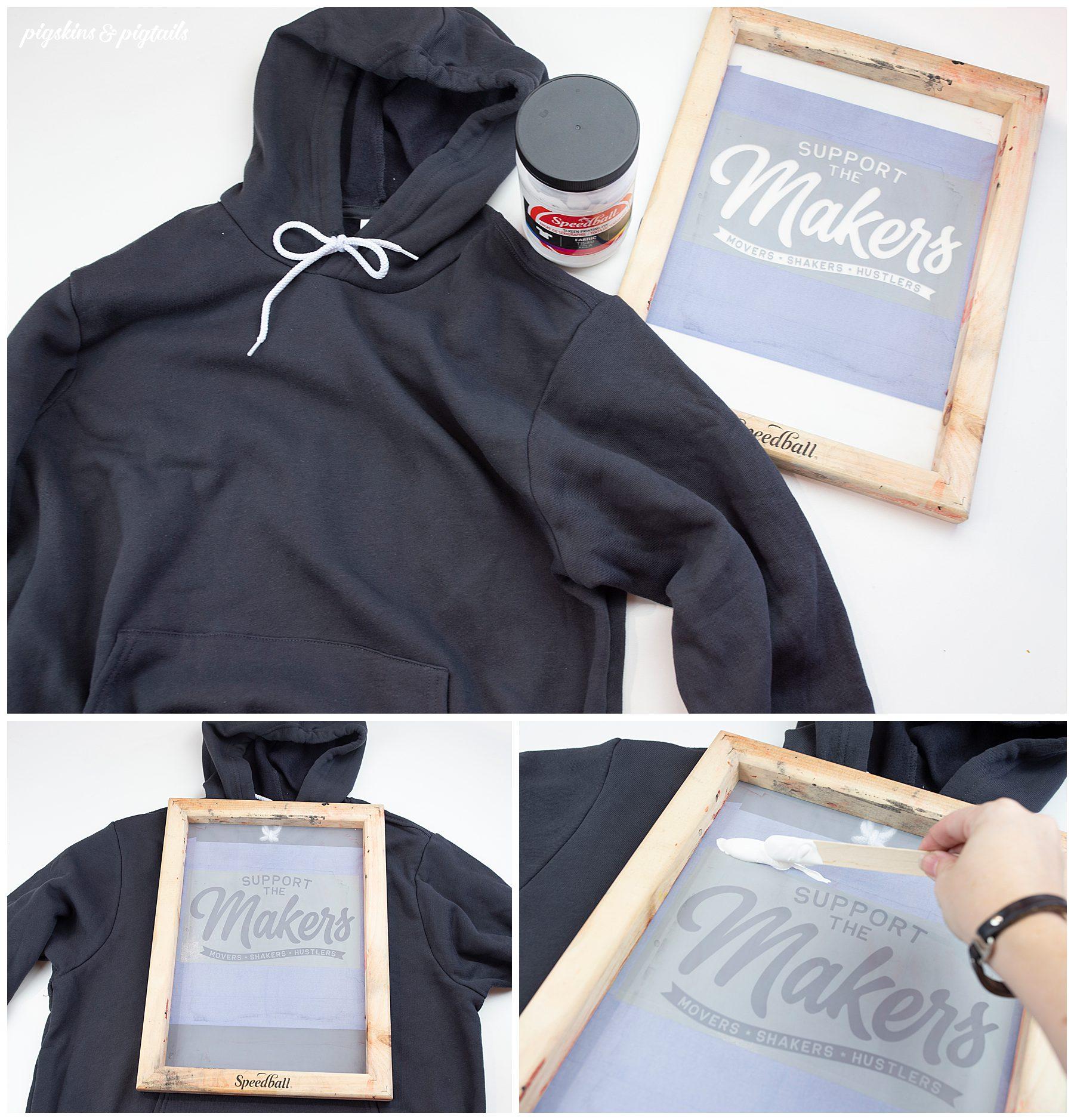 diy hoodie screen printing cricut vinyl white ink