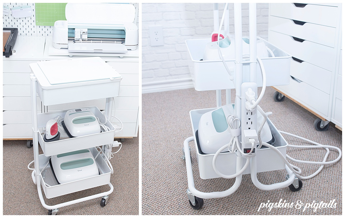 cricut easy press storage organization craft cart