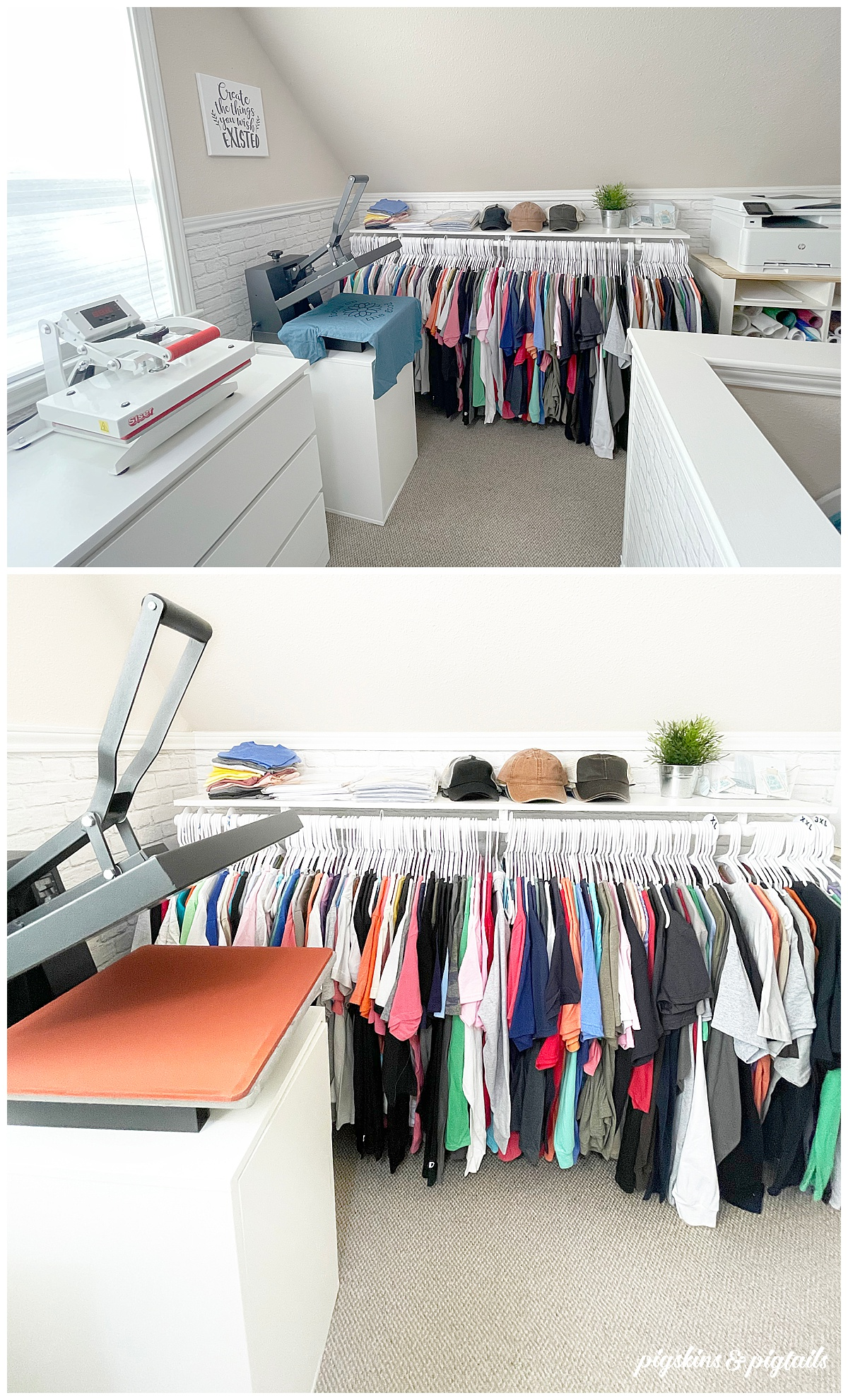 heat press tshirt storage craft room