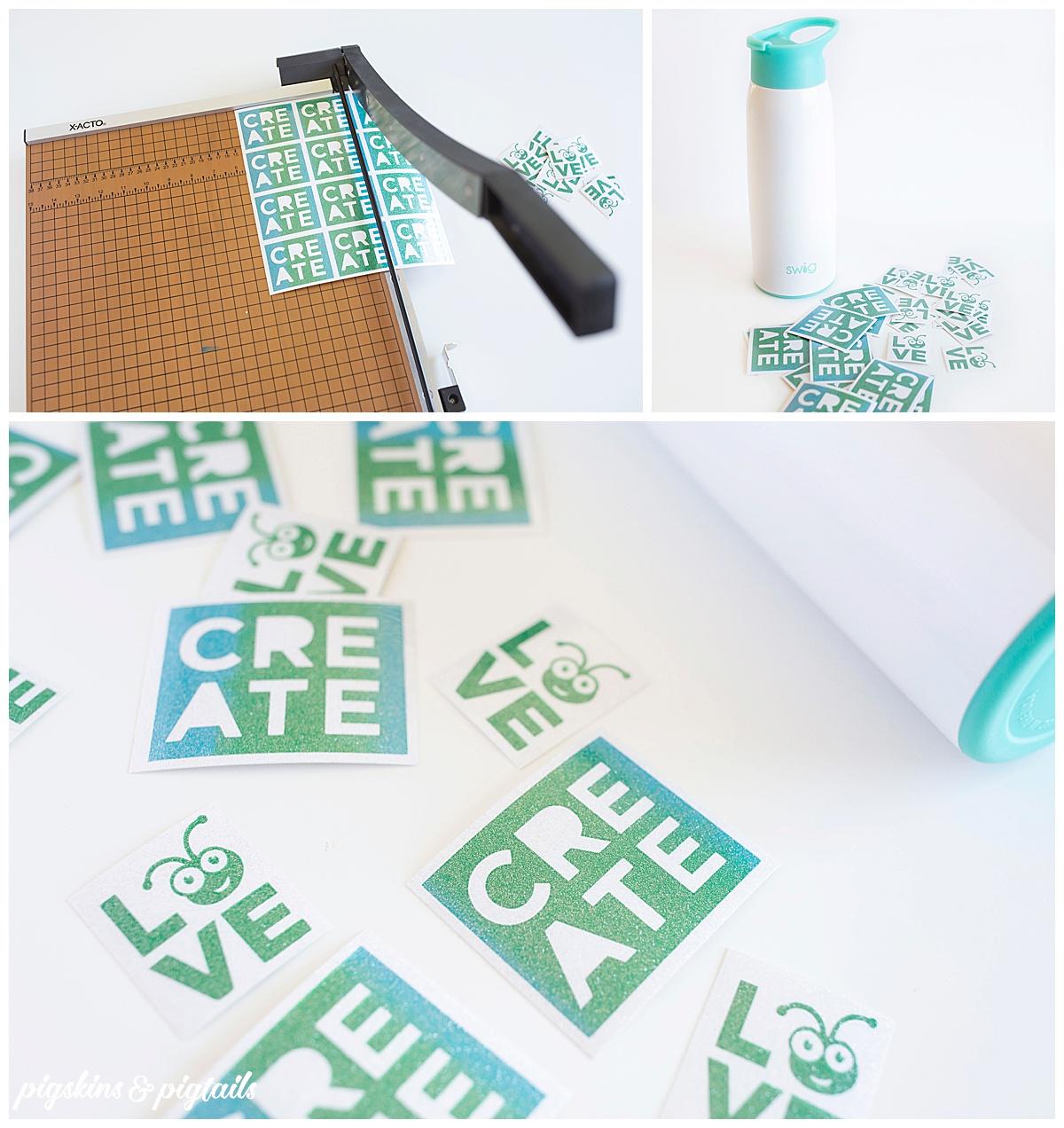 glitter sticker tutorial cricut screen printed