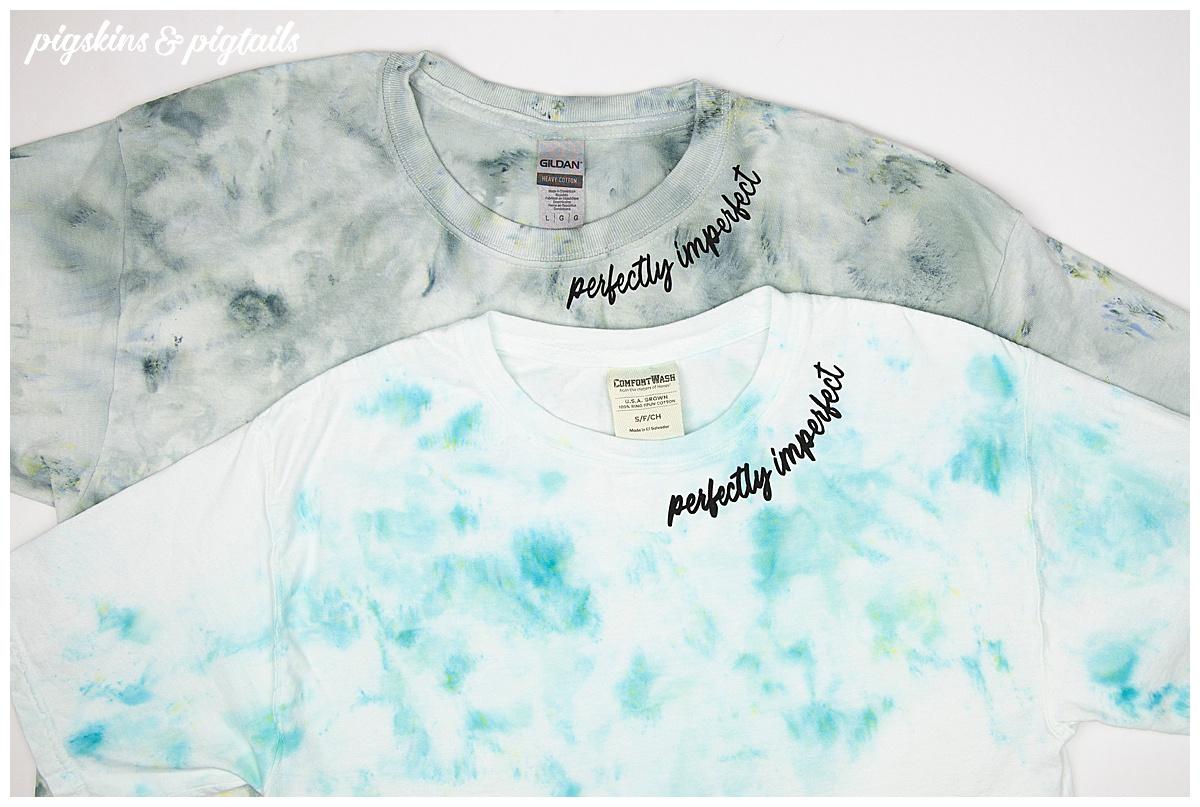 screen print collar ice dye shirt
