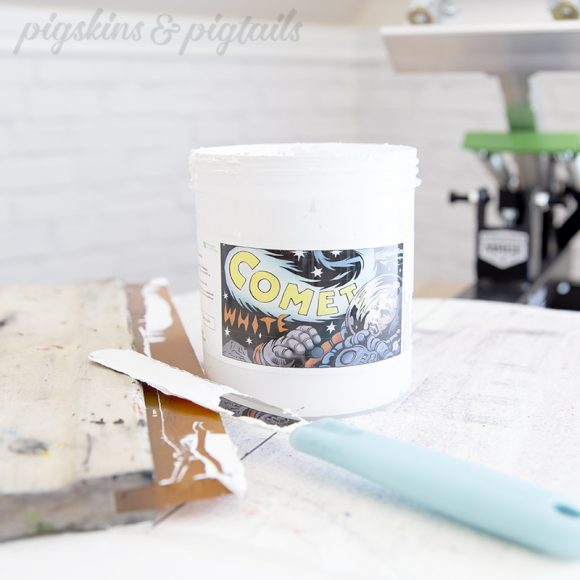 green galaxy comet white screen printing ink