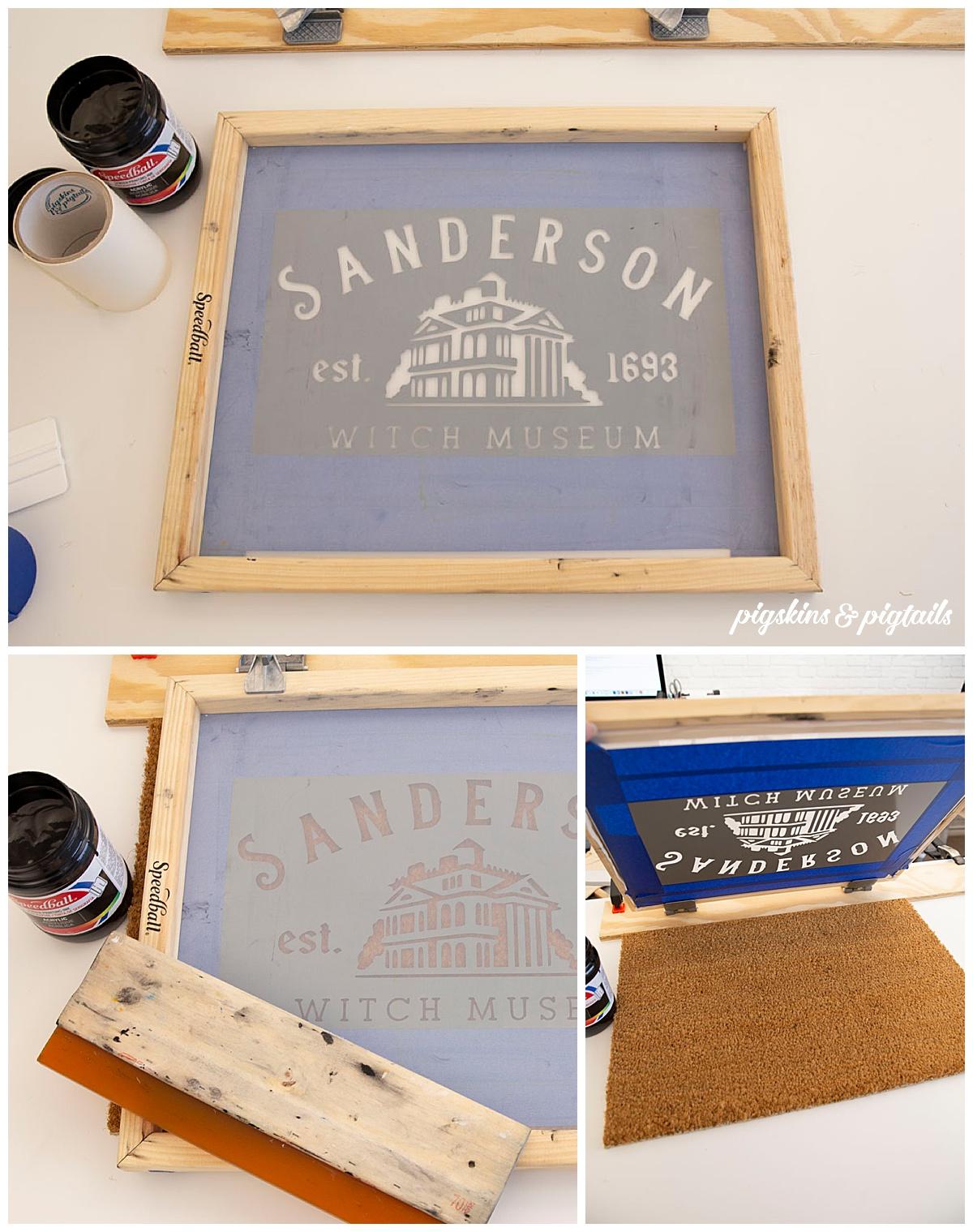 screen printing door mat tutorial painting personalized